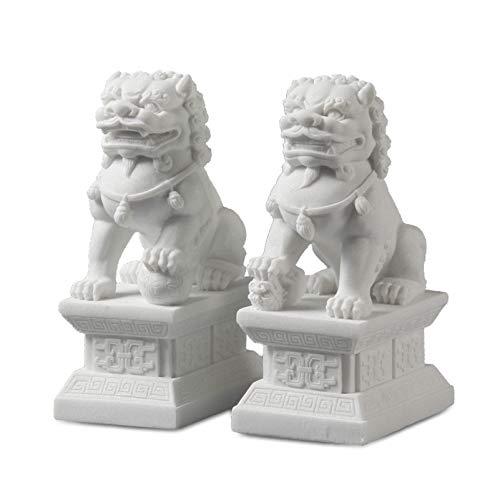Braceletlxy EIN Paar Stein Chinesisch Peking Löwen Paar Fu FOO Hunde Statuen, Weißer Marmor Jade Feng Shui Reichtum Porsperity Ornaments Dekor (S)
