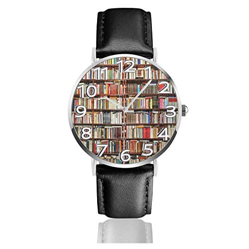 Bücherregal Zahlreiche Bücher Lederuhr Unisex Fashion Armbanduhren Scratch Resist Watch Durable Wear Uhren