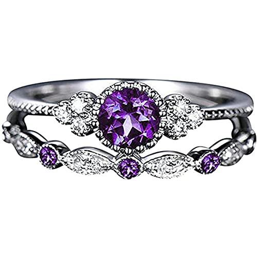 Anillo de plata de ley 925, circonita cúbica, anillo de compromiso de eternidad, de lujo, de elegancia, para parejas, accesorios de joyería, cumpleaños, día de San Valentín, para mujeres y niñas, B, 7