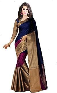 PerfectBlue Cotton Silk Saree with Blouse Piece