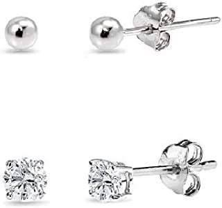 2 Pairs Sterling Silver 3mm Unisex Mini Small Ball Stud and Tiny Round CZ Stud Earrings Set for Men Women