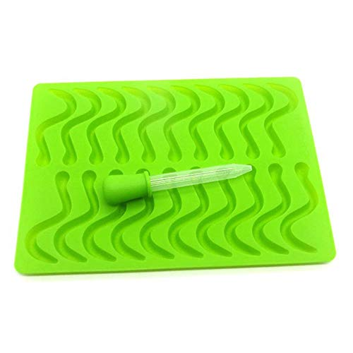 YFHBDJK 20/53 Cavity Silicone Gummy Snake Worms Bear Chocolate Mold Sugar Candy Jelly Molds Ice Tube Tray Mold Baking Cake Tools (Color : Green worms)
