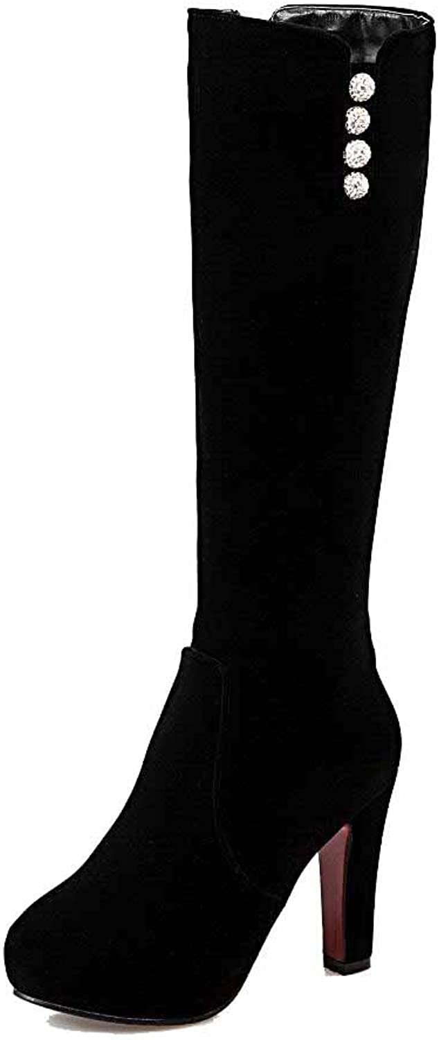 AllhqFashion Women's High-top Chains Frosted High-Heels Round Closed Toe Boots