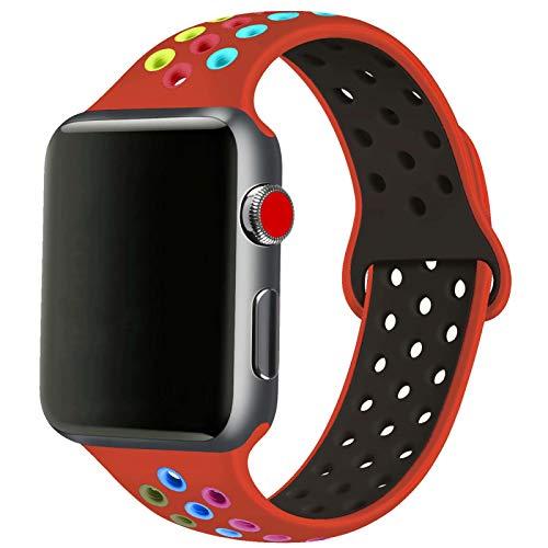 SSEIHI Compatibile con Cinturino Apple Watch 42mm 44mm,Cinturino di Ricambio Sportivo in Silicone Morbido per Cinturino per iWatch Serie 6/5/4/3/2/1,SE,Sport,Traspirante, S/M,Red Color
