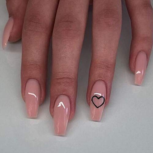 Brishow Coffin False Nails Pink Heart Fake Nails Press on Nails Ballerina Acrylic Full Cover Stick on Nails 24pcs for Women and Girls