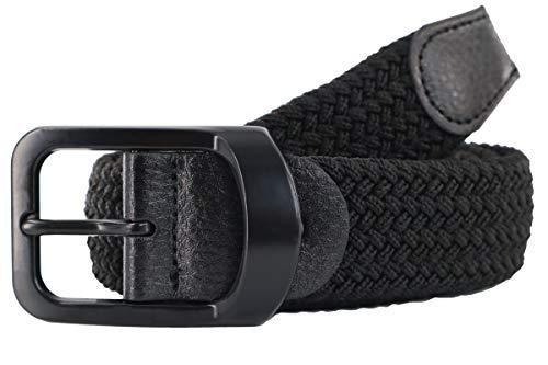 Men's Braided Stretch Belts, Elastic Canvas Woven Belts for Men Jeans Shorts Casual Golf Belt Adjustable (Black, L (for Waist Size 39'' 40'' 41'' 42''))