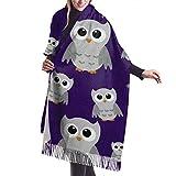 Tengyuntong Damen Wickeldecke Schal, Graue Eulen auf lila Muster Frauen Winter warme Schal Mode lange große weiche Kaschmir Schal Wickelschals