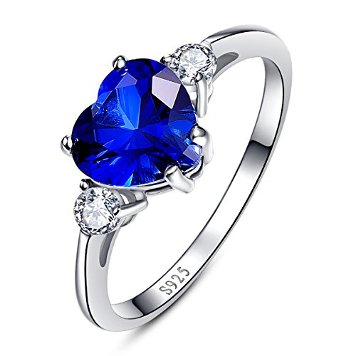 Bonlavie Women's 2.25ct 925 Sterling Silver Heart Shaped Created Blue Sapphire CZ Engagement Promise Ring - P