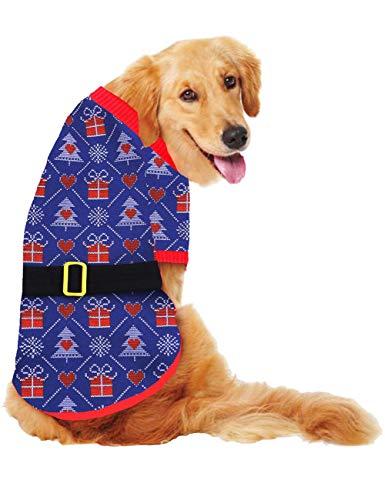 HD2DOG 1/2 Poot Broek Hond Kat Jas Vest, Herfst Winter Warm Jas met Riem Katoen Pullover Jumpsuit Outdoor Kleding voor Puppy, XTM091 3XL Blauw