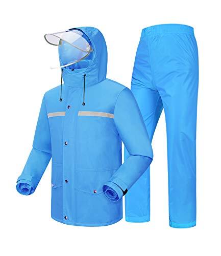 Coutyuyi Giacca Impermeabile Uomo/Donna Giacca e Pantaloni da Pioggia Windbreak Impermeabile con Cappello (XL, Blu)