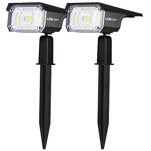 LEREKAM Solar Spot Lights Outdoor, IP65 Waterproof 40 LEDs Solar Landscape Spotlights,USB & Solar Powered Wall Lights Dark Sensing Auto On/Off,3 Modes Outdoor Solar Garden Lights for Yard Porch 2 Pack