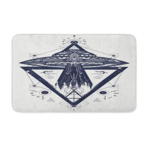 Alfombra de baño OVNI Aliens Persona secuestrada Tatuaje Actividad Paranormal Primer Contacto Decoración de baño acogedora Alfombra de baño con Respaldo Antideslizante