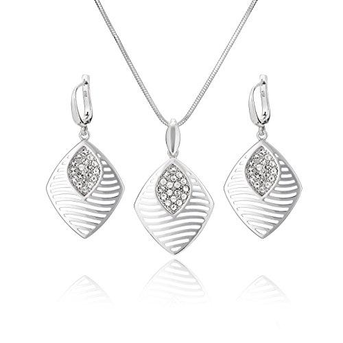 LillyMarie Damen Silber-Schmuckset Sterling-Silber 925 Anhänger Swarovski Elements Längen-verstellbar Schmucketui Geburtstag Geschenke für Frauen