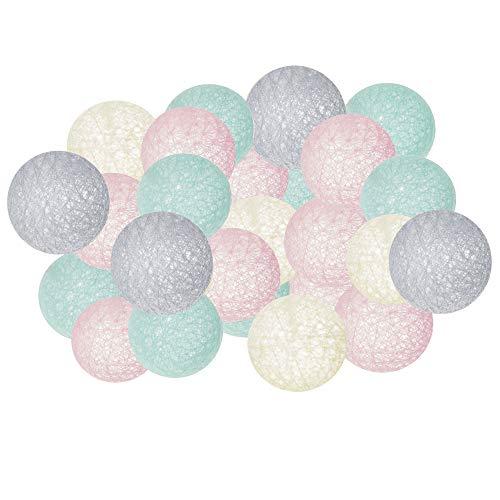 SPRINGOS Guirnalda de bolas de algodón con 20 luces LED, decoración navideña, iluminación decorativa, faros (rosa, gris, crema, turquesa)