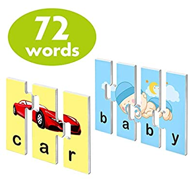 72 Word Spelling Puzzles with Error-Correction Mechanism in 3 and 4 Pieces, Perfect for Preschool Learning (36 Blocks Double Sided)