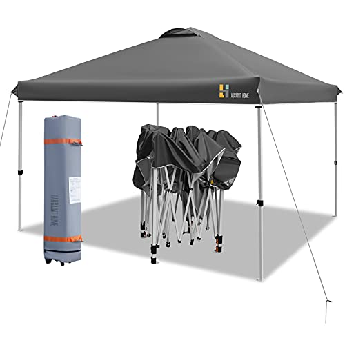 LAUSAINT HOME 10'x10' Pop Up Canopy,Portable Folding Instant Canopy Tent with Roller Bag, 4 Sand Bags,Ez Up Outdoor Canopies, Quick Easy Setup Canopy, Grey