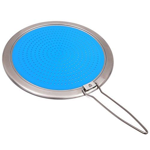 GRÄWE Pfannen-Spritzschutz Ø 32 cm aus Silikon und Edelstahl, mit Klapp-Griff, blau