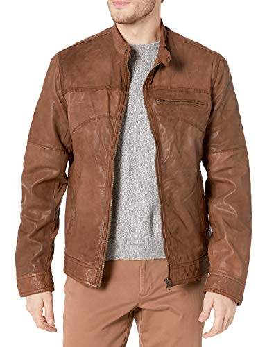 Cole Haan Men's Washed Lamb Leather Moto Jacket, British Tan, Large