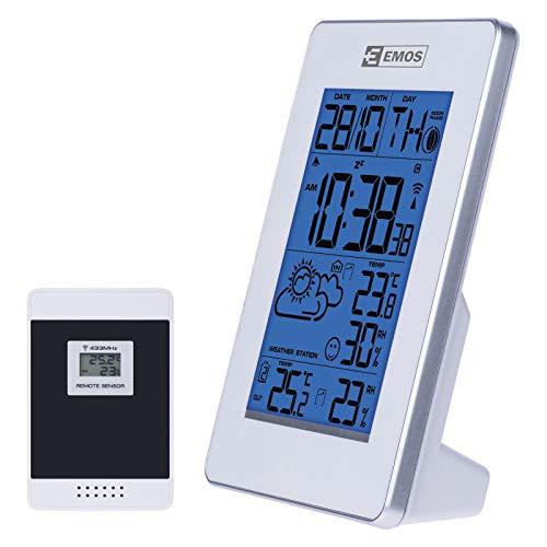 EMOS E3003 drahtlose Wetterstation mit Funkuhr, Innen-und Außentemperaturanzeige, Thermometer, Hygrometer, Wecker, Kalender
