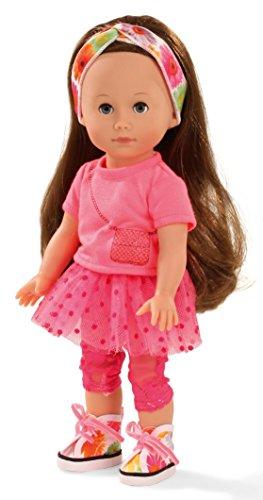 Götz 1513014 Just Like me - Chloe Puppe - 27 cm große Stehpuppe mit extra Langen braunen Haaren und blauen Schlafaugen - 7-teiliges Set