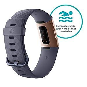 Fitbit Charge 3 Pulsera avanzada de salud y actividad física,Gris Azulado / Aluminio Color Oro Rosa