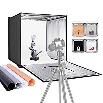 """Neewer Photo Studio Light Box 20"""" × 20"""" Shooting Light Tent with Adjustable Brightness Foldable and Portable Tabletop Photography Lighting Kit with 80 LED Lights and 4 Colored Backdrops"""