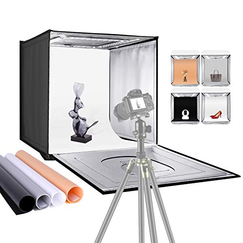 """Neewer Photo Studio Light Box, 20"""" × 20"""" Shooting Light Tent with Adjustable Brightness, Foldable and Portable Tabletop Photography Lighting Kit with 80 LED Lights and 4 Colored Backdrops"""