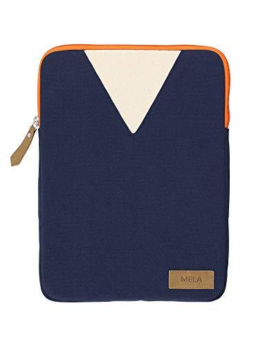 MELAWEAR Mela Laptop Sleeve 13 Zoll aus Bio Baumwoll Canvas - Nachhaltig mit Fairtrade Cotton, GOTS und Grüner Knopf Zertifizierung, Farben Laptop-Taschen:blau/orange, Größe Laptop-Taschen:13 Zoll