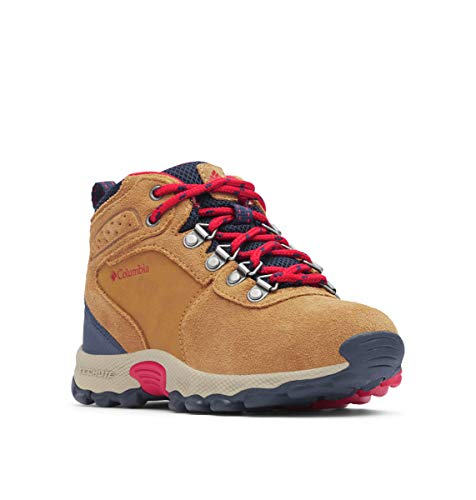 Columbia Unisex-Kid's Youth Newton Ridge Suede Hiking Boot, elk, Mountain red, 5 Regular US Big Kid