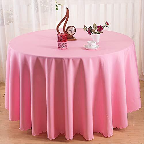 LHHMM Tischdecke Polyester Durable Dinner Table Cover Einfarbig Runde Tischdecke Quadratische Tischdecke Fleckabweisend Staubdicht Tischwäsche,Rosa,round134inch
