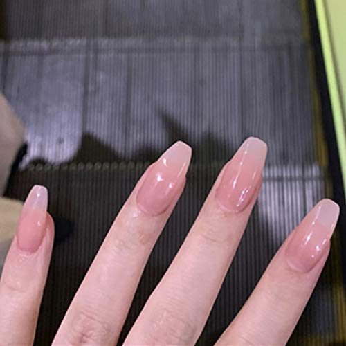 Boaccy Glossy French Press on Nails White Short Square Fake Nails Acrylic Full Cover False Nails Ombre Nude Nail Art for Women and Girls (H)