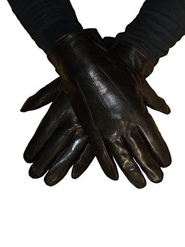 Gants de ville Homme en cuir Noir - doublés fourrés