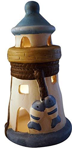 khevga Maritime Deko Kerzenhalter Windlicht Leuchtturm Blau Weiß Badezimmer