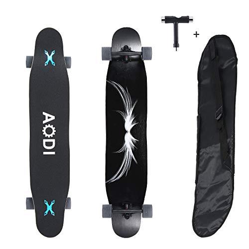 Wheelive Longboard Skateboard Cruiser 46' Tabla de Skate Completa 7 Capas de Madera de Arce para Estilo Libre y Descenso, para Adolescentes, Adultos, Principiantes, niñas y niños