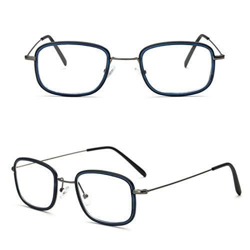NXX Gafas Cuadradas De Metal Completo con Montura para Mujer, Gafas Ópticas De Borde Fino para Radiación, Hombres,2.50X