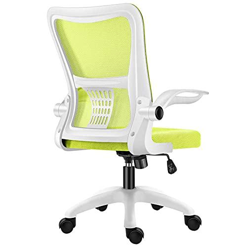 Silla de computadora de malla ergonómica ajustable, silla de oficina con función de inclinación, cómoda silla de malla acolchada para escritorio en casa, oficina, reposabrazos ajustables, verde_1