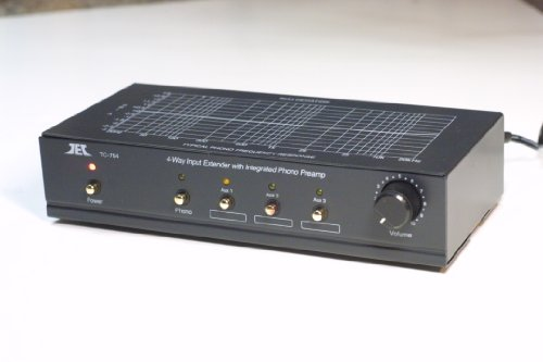 TCC TC-754 BLACK RIAA Phono Preamp (Pre-amp, Preamplifier) With Three Switchable Aux Inputs and Variable Output Level