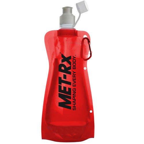Borraccia Floding da 550 ml MET-RX, sta in piedi quando è piena, si piega o si appiattisce quando è vuota, moschettone attaccato per un facile trasporto, bottone a clip per una facile piegatura