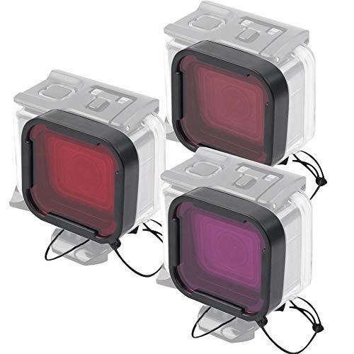 Wosune Juego de filtros de Buceo de plástico, Filtro de Buceo, Filtro de 3 Colores de Alta claridad bajo el Agua 3 Piezas a Prueba de Agua para cámara para Gopro Hero 5/6