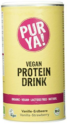 Purya Bio Vegan Protein Drink Vanille-Erdbeere, 1er Pack (1 x 550 g)