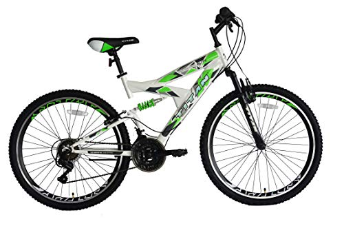 "TITAN Pathfinder Elite, Green, Silver and White 26"" Full Suspension Unisex MTB, high-tensile Steel Frame and Alloy Fork, V-Style Braking System, Double Wall Alloy Rims, 21 Speed Shimano Gear System."