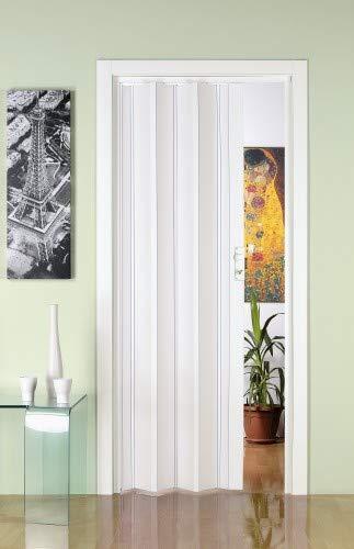 Porta a Soffietto in PVC Luciana Bianco Pastello 88,5x214 con Serratura