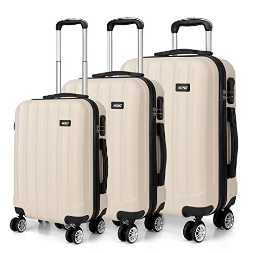 Kono Fashion Travel Luggage Set of 3 Piece Hard Shell Light Weight ABS Suitcase with 4 Spinner Wheels (Beige)