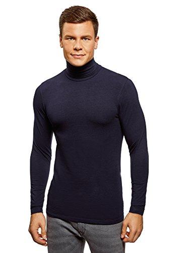 oodji Ultra Hombre Suéter de Cuello Alto Básico Ajustado, Azul, ES 46-48 / S