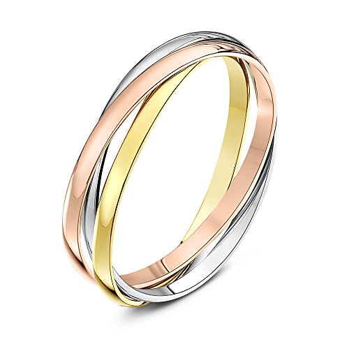 Theia Unisex 9 ct Highly Polished Rose, White and Yellow Gold 2 mm Russian Wedding Ring, Size W