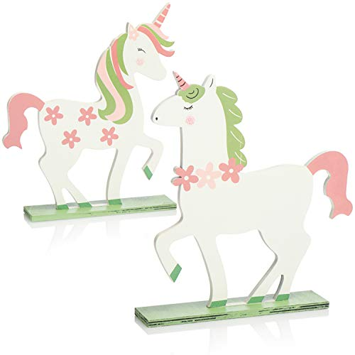 com-four® 2X Unicornio de Madera - Decoración de Pascua de Madera - Soporte con Figura de Unicornio - Linda Decoración de Madera para Pascua (2X Unicornio Blanco Rosa Verde)