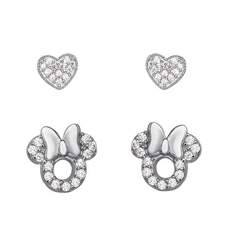 Disney Minnie Mouse Sterling Silver Pave Cubic Zirconia Heart Stud Earring Set, Official License