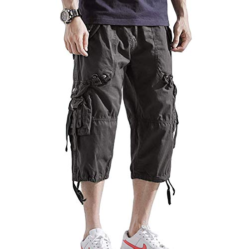 Insenver Mens Cargo Shorts 3/4 Loose Fit Below Knee Capri Long Shorts Multi Pocket Short Pants Dark Grey