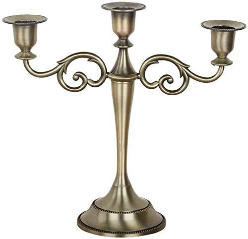 WUIO Kandelaar 3 metalen takken kandelaar in Europese stijl bruiloft lamp voor eettafel, avondeten bij kaarslicht, barokke kandelaar voor thuisdecoratie