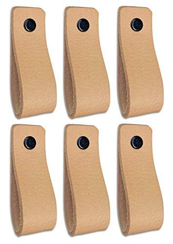 Tiradores de Cuero | Naturel / 6 piezas | 16,5 x 2,5 cm | Piel de Granos | 3 tornillos de color - tiradores para Accesorio de Mobilario, armario, cajón, puerta
